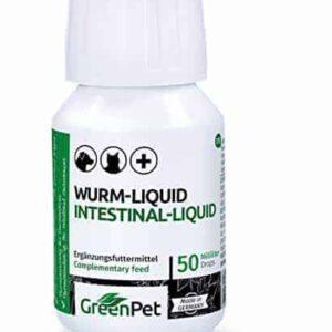 GreenPet 100% natürliches Wurm-Liquid Tropfen Flüssig 50ml – Hunde, Katzen, Geflügel, Vögel, Kaninchen und Haustiere, Vor und bei Wurmbefall, 1-2 Jahre Vorrat
